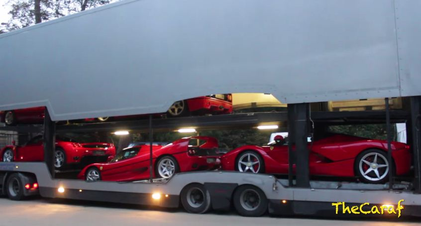 Ferrari's being unloaded at Concourse D'Elegance