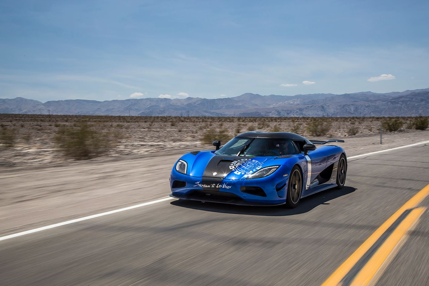 Lewis Hamilton in a Koenigsegg Agera HH at Gumball 3000