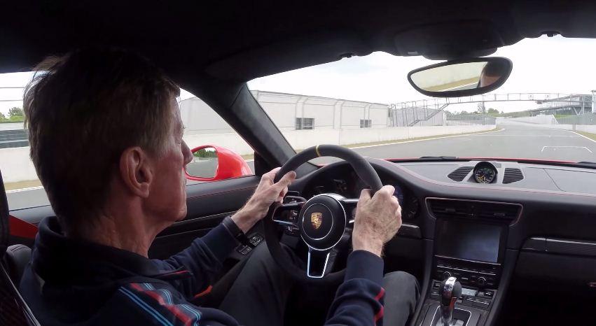 Walter Rohrl driving a Porsche 911 GT3 RS