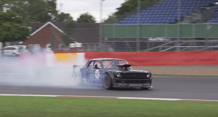Ken Block drifting Hoonicorn at Silverstone