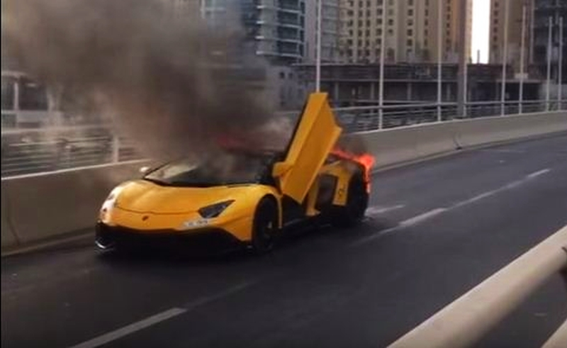 Lamborghini Aventador SV catches fire in Dubai