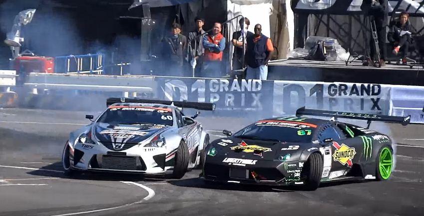 Lamborghini Murcielago vs Lexus LFA tandem drift