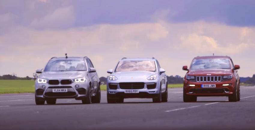 Grand Cherokee SRT vs X5 M vs Cayenne Turbo S Drag Race