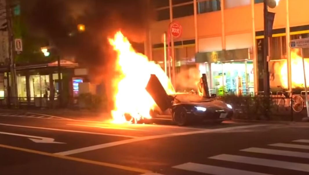 Lamborghini Aventador catches fire in Japan