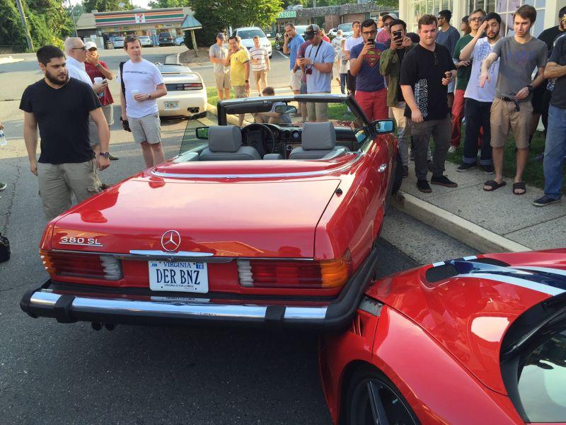 Ferrari 458 Speciale- Classic Merc crash at Cars and coffee-1