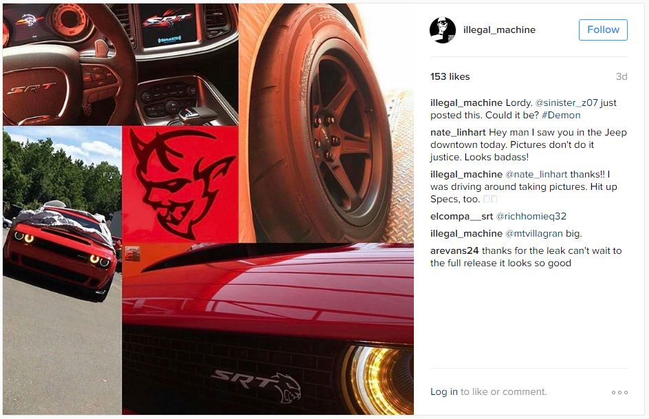 Dodge Challenger SRT Demon images leaked-1