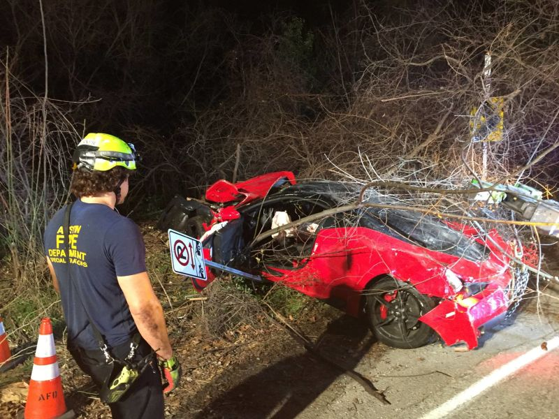Ferrari 458 Speciale Red Bud Trail Crash-Austin-Texas-2