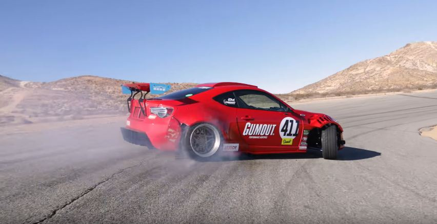 Ryan Tuerck drifting his Ferrari-powered Toyota GT4586 at Willow Springs