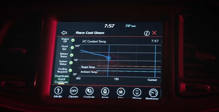 Dodge Challenger Demon Performance Data Screen