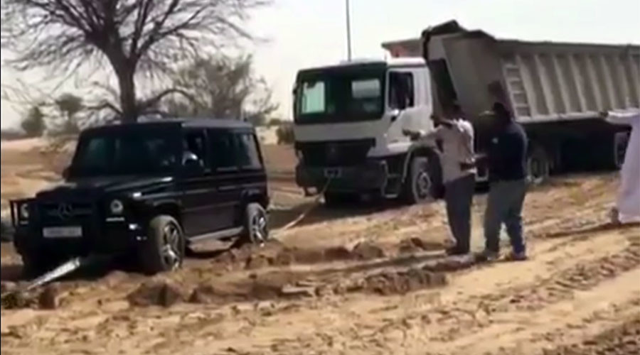Dubai Crown Price rescues lorry stuck in Desert