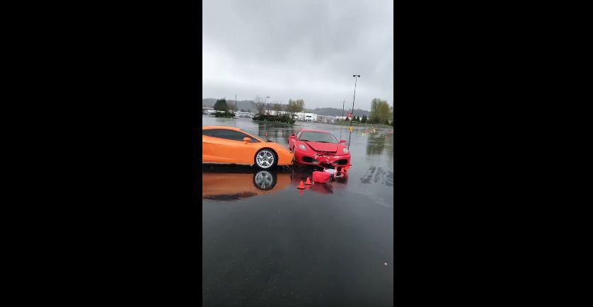 Ferrari F430- Lamborghini Gallardo-Crash