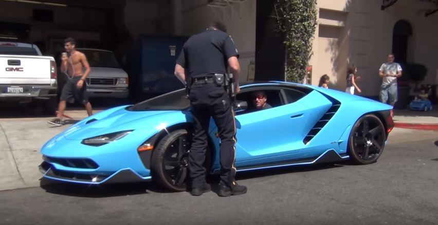 Lamborghini Centenario-Blu Cepheus-Pulled Over-LAPD-Beverly Hills