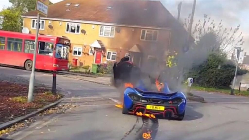 blue mclaren p1mso catches fire in london - the supercar blog
