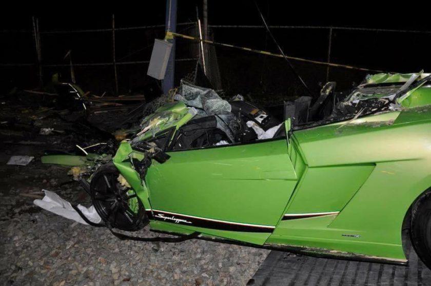 Green Lamborghini Gallardo Superleggera Crash-California-2