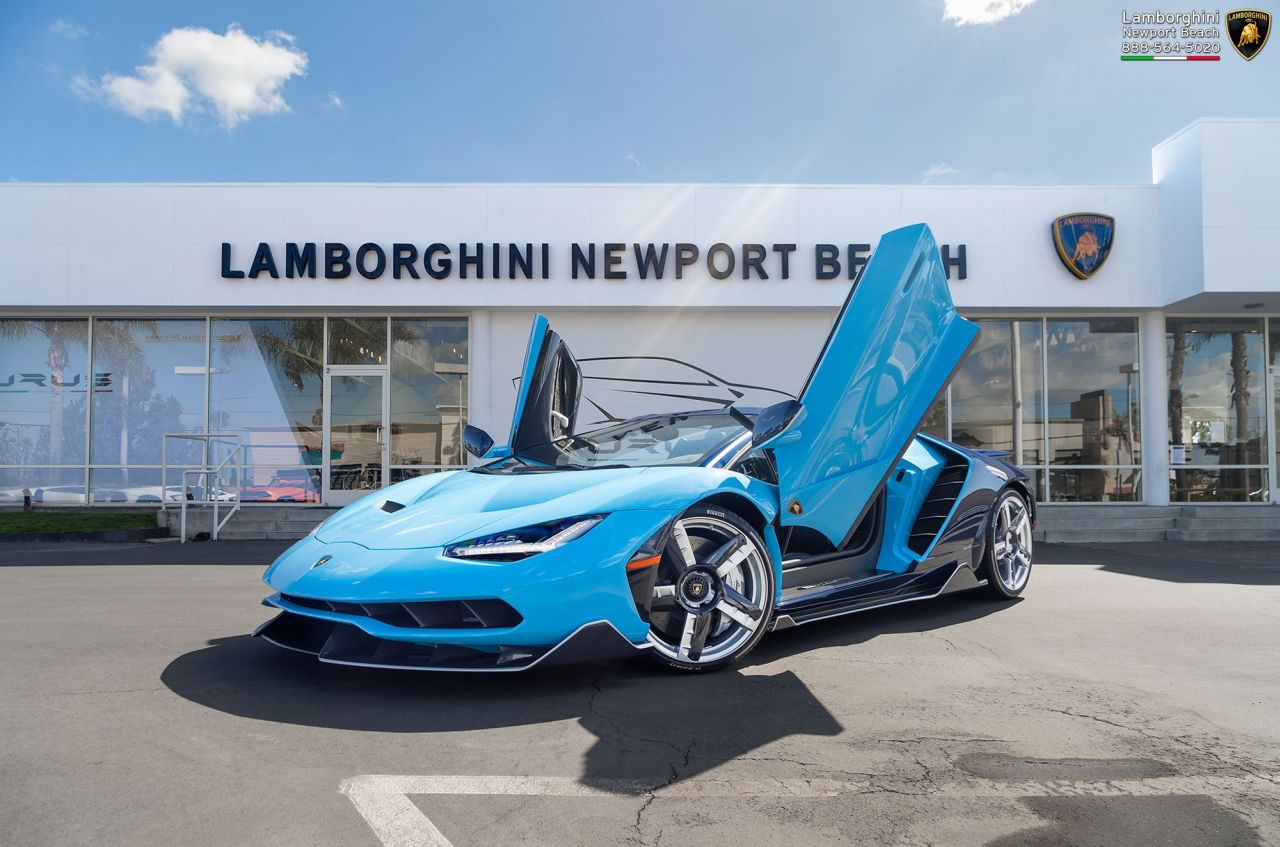 Blu Cepheus Centenario Roadster Arrives At Lamborghini Newport Beach