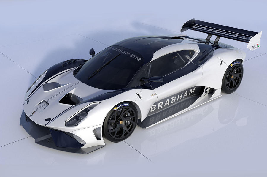Brabham BT62 Front Quarter View White_Navy