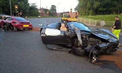 Ferrari 458 and Porsche 728 crash