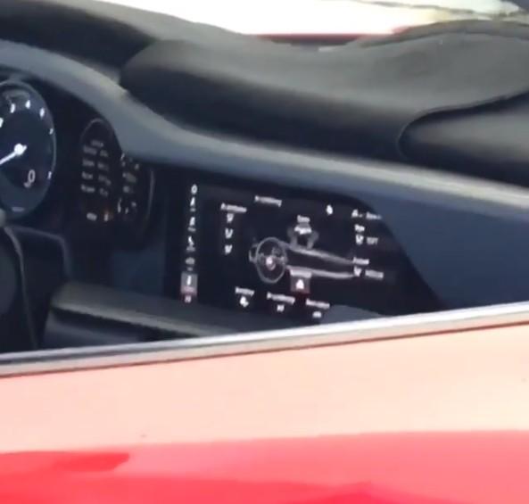 Porsche 911 992 spy shot interior 01