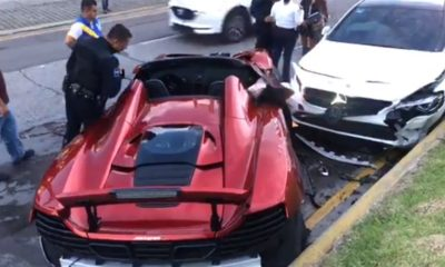 mclaren 650s spider mercedes cla crash mexico