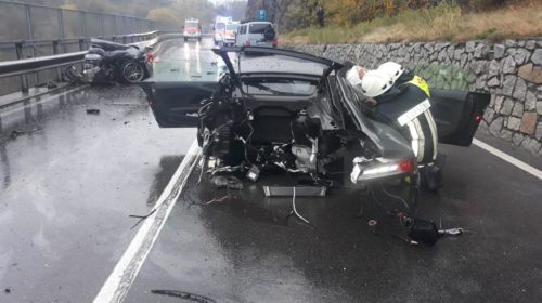 Audi r8 splits into two massive crash 05