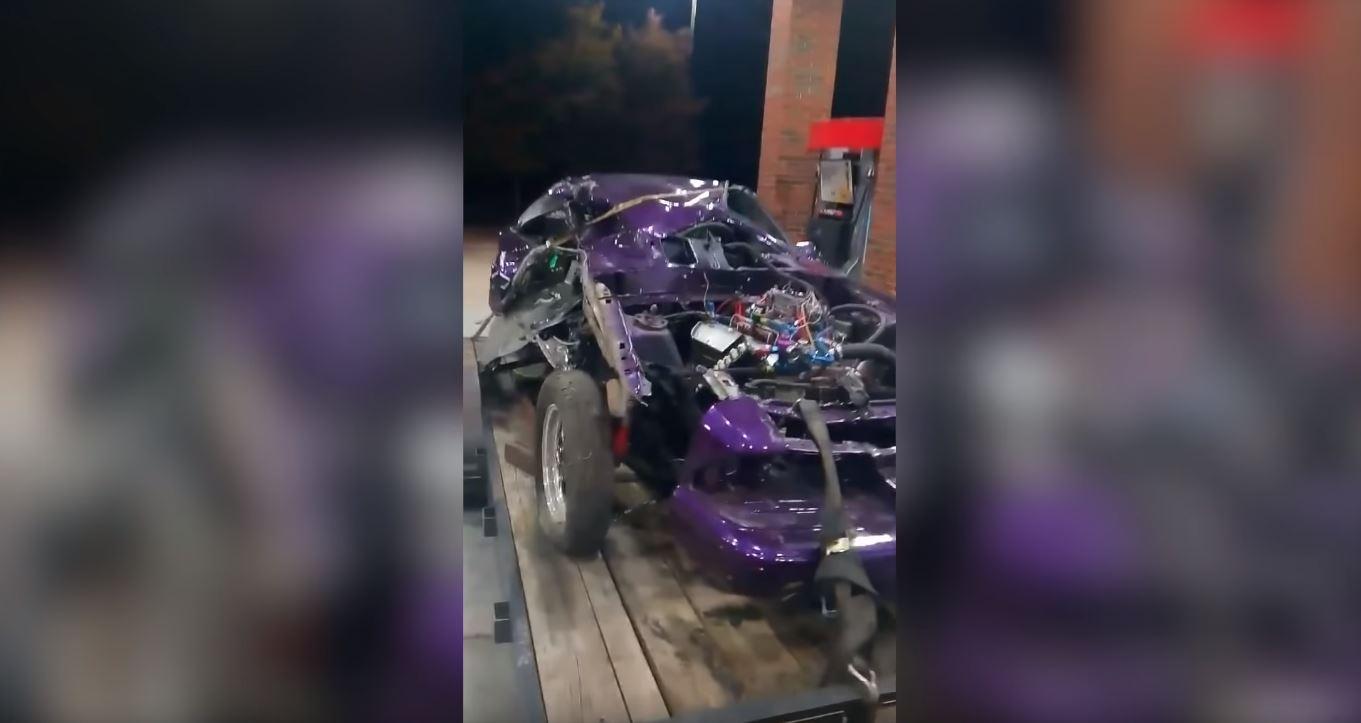 Fox Body Mustang splits in half street racing