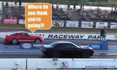 Mustang vs Challenger Helcat drag race