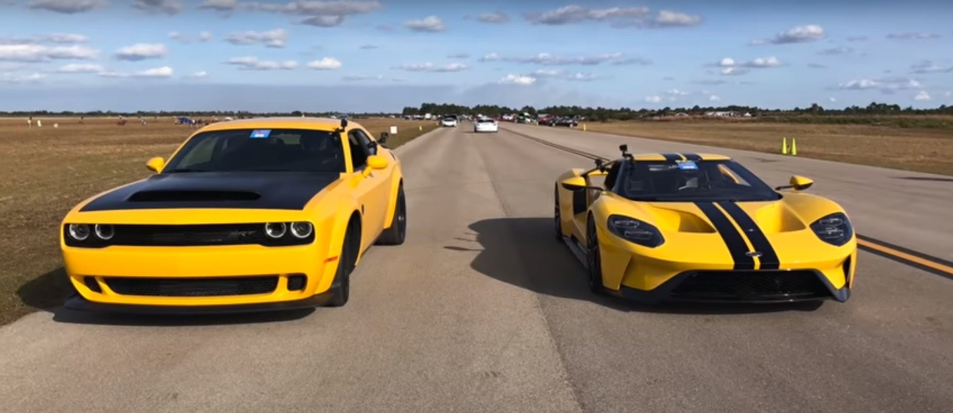 Dodge Demon Ford GT Drag Race