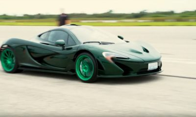 Green McLaren P1-top-speed run