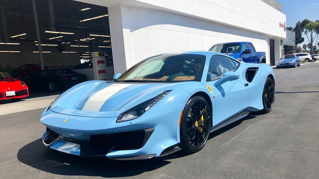 Baby Blue Ferrari 488 Pista Lands in San Diego , The