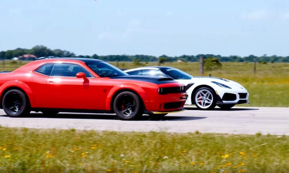 Dodge Challenger Demon vs Hennessey Corvette ZR1-drag race