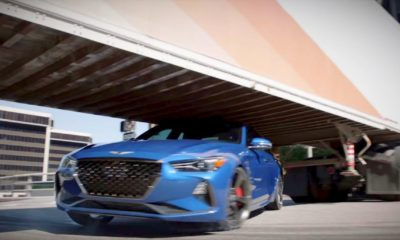 Genesis G70-drift-under-trailer
