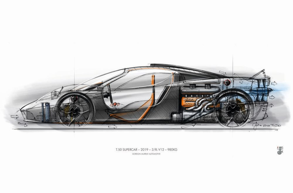 Gordon Murray T50 Hypercar-digital-rendering-sketch