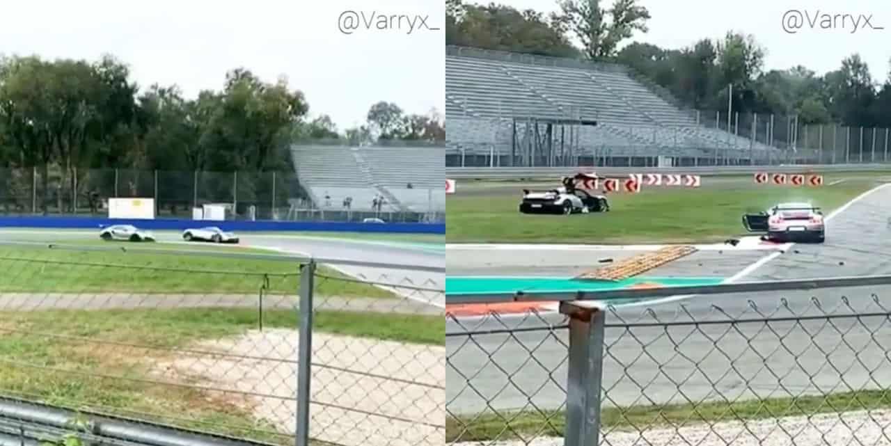 Pagani Huayra BC-Porsche 911 GT2 RS crash-Monza