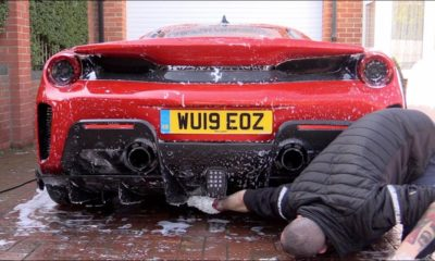 Washing a Ferrari 488 Pista Supercar
