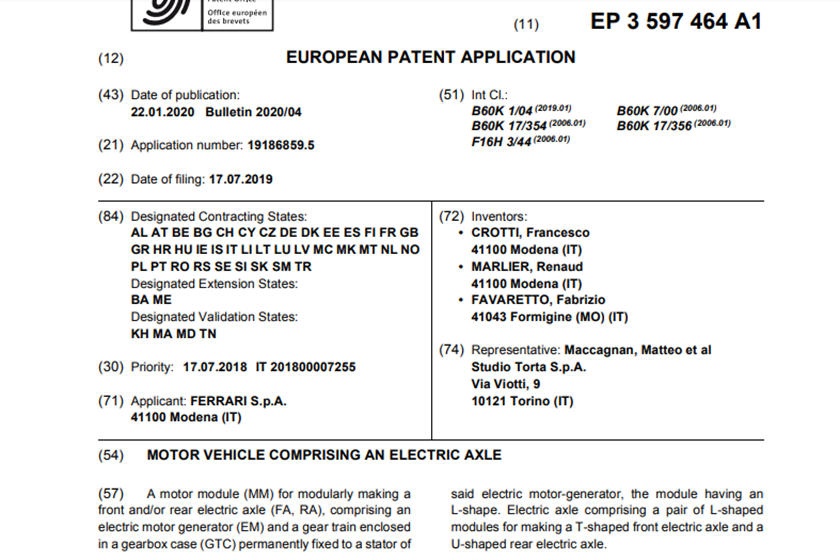 Ferrari Electric Supercar-Patent-1