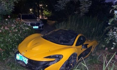 Yellow McLaren P1-Crash-China-1