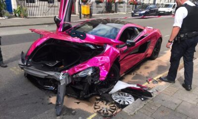 Pink McLaren 570S Crash-London-1